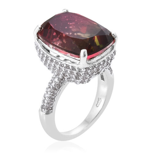 Finch Quartz (Cush 11.00 Ct), Brown Zircon Ring in Platinum Overlay Sterling Silver 13.000 Ct, Number of Gemstone 169