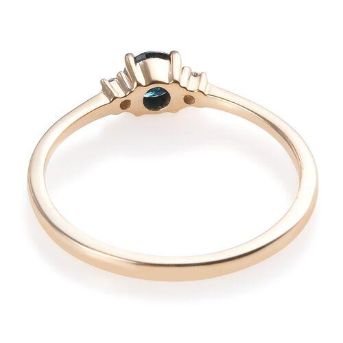 9K Yellow Gold Blue Diamond (Rnd), White Diamond (I2/G-H) Ring 0.25 Ct.