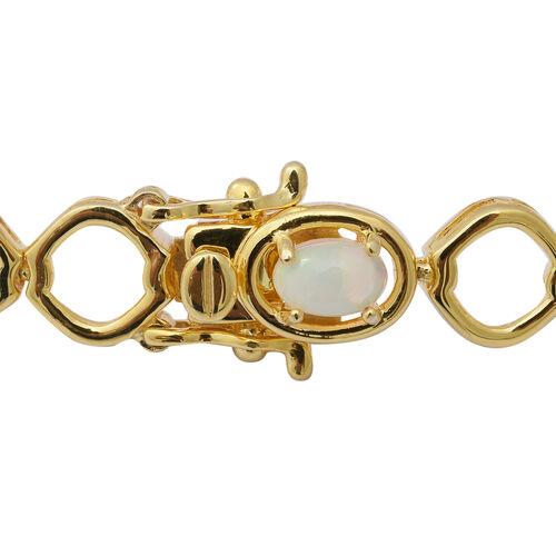 Ethiopian Welo Opal Bracelet (Size 7.5) in Yellow Gold Overlay Sterling, Silver wt 12.40 Gms