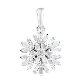 Diamond (Bgt) Starburst Pendant in Platinum Overlay Sterling Silver 0.250 Ct.