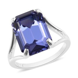J Francis - Crystal from Swarovski Tanzanite Colour Crystal (Oct) Ring in Sterling Silver