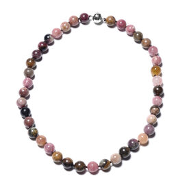 Multi-Tourmaline Beaded Necklace (Size 20) with Magnetic Lock in Rhodium Overlay Sterling Silver 466
