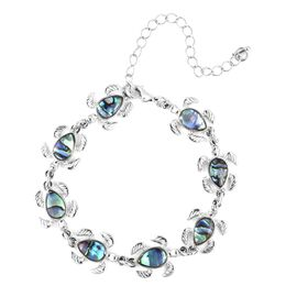 Abalone Shell Turtle Bracelet (Size 7.75 with 3 inch Extender) in Silver Plated