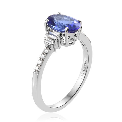RHAPSODY 950 Platinum AAAA Tanzanite (Ovl 8.5x6.5 mm, 1.80 Ct), Diamond (VS/E-F) Ring 2.000 Ct.