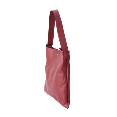 Sencillez Sassy Red 100% Genuine Nappa Leather Tote Bag with Adjustable Shoulder Strap (Size 39x36 Cm)