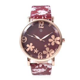 STRADA Japanese Movement Water Resistance Floral Motif Adorned Watch - Wine Red