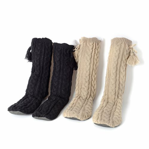 Set of 2 Pairs - Warm and Soft Black and Beige Colour Faux Fur Booties with Sherpa Lining (Size 25x2
