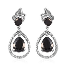 2.25 Ct Elite Shungite Drop Earring in Platinum Plated Sterling Silver