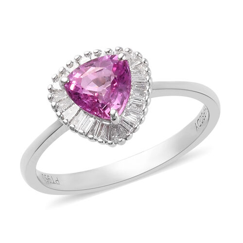 RHAPSODY 1.25 Ct AAAA Pink Sapphire and Diamond Halo Ring in 950 Platinum VS EF