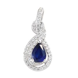 Blue Spinel (Pear), Natural Cambodian Zircon Pecock Feather Pendant in Platinum Overlay Sterling Sil
