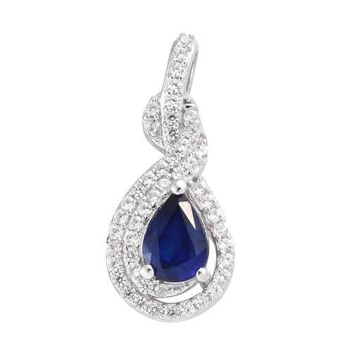 Blue Spinel (Pear), Natural Cambodian Zircon Peacock Feather Pendant in Platinum Overlay Sterling Si