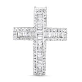 lLIANA 18K White Gold Diamond SGL Certified (SI/G-H) Cross Pendant 1.010 Ct