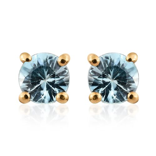 Blue Zircon Stud Earrings (with Push Back) in Gold Plated Silver 1.25 Ct