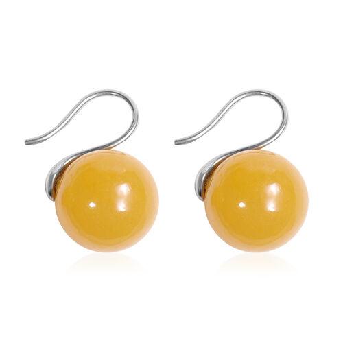 Honey Jade Bead Hook Earrings in Silver Tone 39.50 Ct.