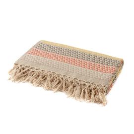 100% Cotton Hand-Woven Multi Colour Geometric Pattern Jacquard Bedcover (Size 270x220 Cm)