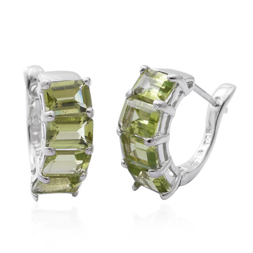 Hebei Peridot (Oct) Hoop Earrings (with Clasp Lock) in Rhodium Overlay Sterling Silver 4.500 Ct.