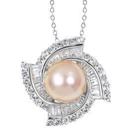 Limited Edition- Very Rare South Sea Golden Pearl (11.5 - 12 mm), White Topaz and Natural White Cambodian Zircon Pendant With Chain in Rhodium Overlay Sterling Silver 13.105 Ct, Silver wt 5.33 Gms