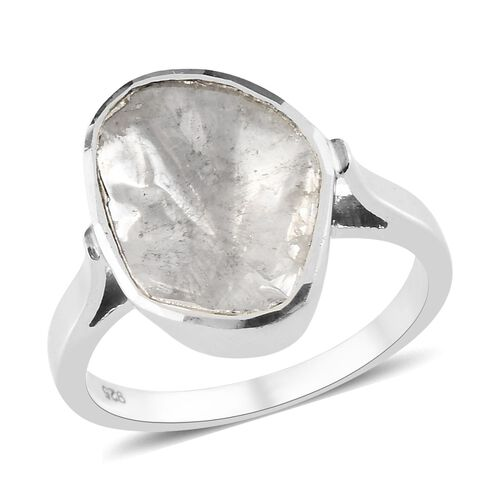 Artisan Crafted Natural Polki Diamond Ring in Platinum Overlay Sterling Silver 1.00 Ct.