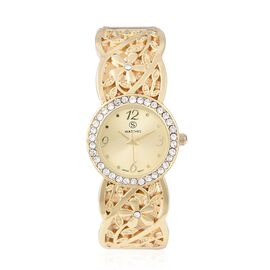 STRADA Japanese Movement  Austrian White Crystal (Rnd) Water Resistant Bangle Watch in Gold Plated S