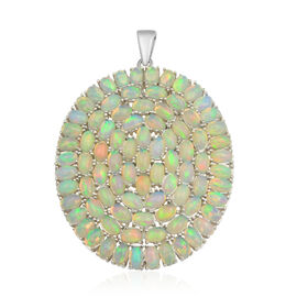 13.60 Ct Ethiopian Welo Opal Circle Pendant in Rhodium Plated Sterling Silver