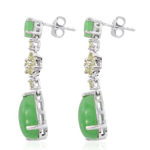 Green Jade (Pear), Hebei Peridot Earrings (with Push Back) in Platinum Overlay Sterling Silver 14.750 Ct.