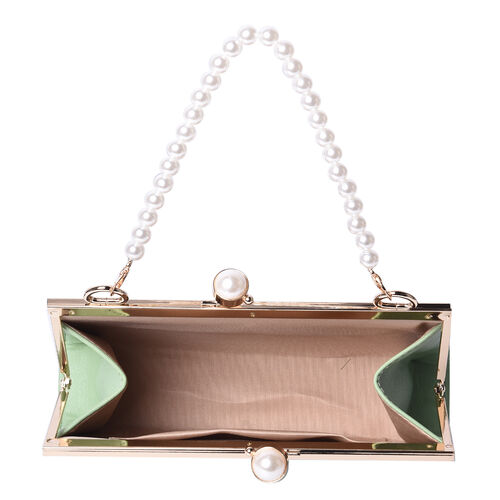 Boutique Inspired- Green Colour Clutch Closure Crossbody Bag with Dangling Pearl Chain and Metallic Shoulder Strap
