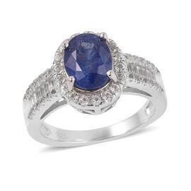 Masoala Blue Sapphire (Ovl 2.750 Ct.), White Topaz Ring in Rhodium Overlay Sterling Silver 3.600 Ct.