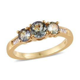One Time Deal - Green Tanzanite (Rnd), Diamond Ring in 14K Gold Overlay Sterling Silver 1.000 Ct.