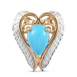 Arizona Sleeping Beauty Turquoise Angel Wing Pendant in Platinum and Yellow Gold Overlay Sterling Si