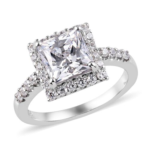 J Francis Made with SWAROVSKI ZIRCONIA Halo Ring in Platinum Plated Sterling Silver