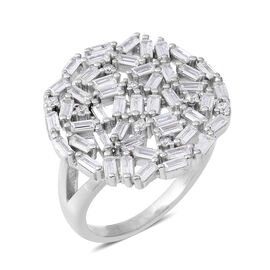 ELANZA Simulated Diamond (Bgt) Cluster Ring in Rhodium Overlay Sterling Silver