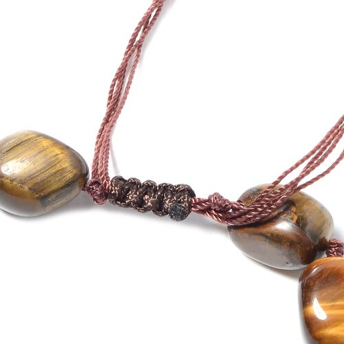 One Time Mega Deal-Tigers Eye (Tumble) Adjustable Beads Necklace (Size 18 - 32)  530.000  Ct.