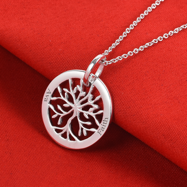 Personalised Engraved Family Tree Necklace, Size 18 Inch