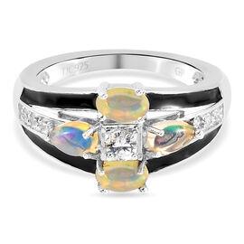 Ethiopian Opal ,  Kanchanaburi Blue Sapphire ,  White Zircon  Cluster Ring in Platinum Overlay Sterl