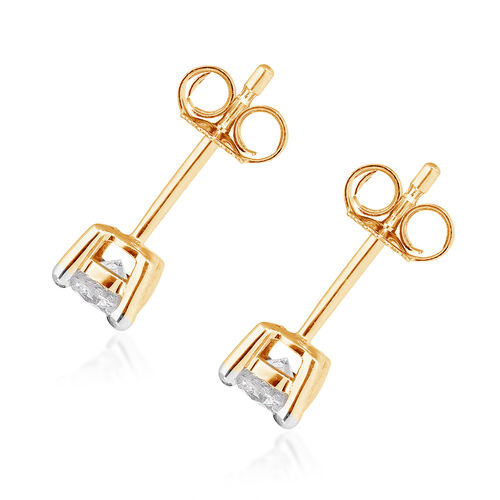 9K Yellow Gold SGL Certified Diamond (I3/G-H) Stud Earrings (with Push Back) 0.50 Ct.