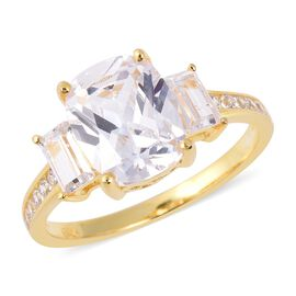 ELANZA Simulated Diamond Trilogy Design Ring in Gold Plated Sterling Silver
