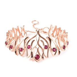 LucyQ Flame Collection - African Ruby (FF) Bracelet (Size 8) in Rose Gold Overlay Sterling Silver 3.