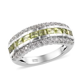Chinese Peridot (1.90 Ct),Cambodian Zircon Platinum Overlay Sterling Silver Ring  1.500  Ct.