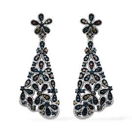 1 Carat Multi Colour Diamond Dangle Earrings in Rhodium Plated Sterling Silver 8.41 Grams