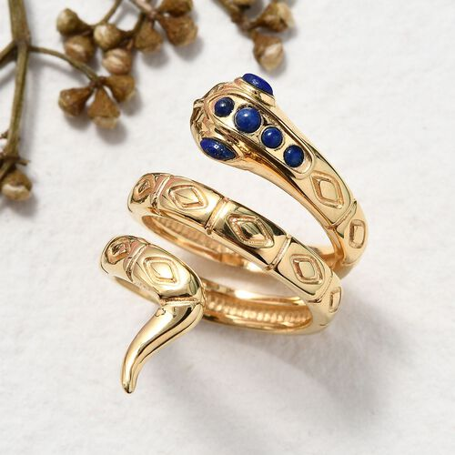 Sundays Child - Lapis Lazuli Snake Ring in 14K Gold Overlay Sterling Silver, Silver wt 6.45 Gms