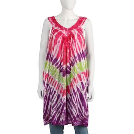 Tie-Dye Embroidered V Neck Summer Dress (One Size; L=90 Cm) - Multi
