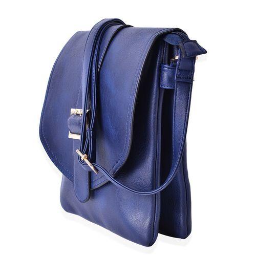 Cambridge Royal Blue Crossbody Bag with Adjustable Shoulder Strap (Size 25x23x2 Cm)