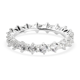 ELANZA Simulated Diamond Eternity Band Ring in Sterling Silver