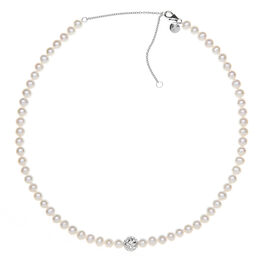 RACHEL GALLEY Freshwater Pearl Necklace (Size 20) in Rhodium Overlay Sterling Silver