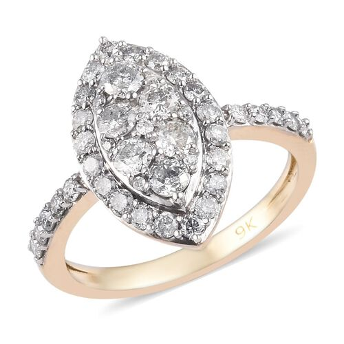 9K Yellow Gold SGL Certified Diamond (I3/G-H) Ring 1.00 Ct.