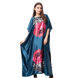 Green and Red Colour Poncho with Peony Pattern (Size 80x128 Cm)