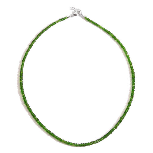50 Carat Russian Diopside Beads Necklace Size 18 in Rhodium Plated Silver