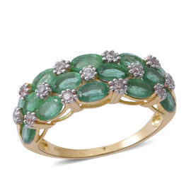 4 Carat AA Kagem Zambian Emerald and Natural White Cambodian Zircon Cluster Ring in 9K Gold 3 grams