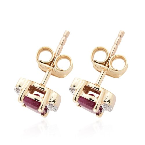 1.30 Ct AA Burmese Ruby and Diamond Earrings in 9K Gold