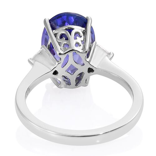 RHAPSODY 950 Platinum AAAA Tanzanite (Ovl 6.17 Ct), Diamond (VS/E-F) Ring 6.350 Ct.